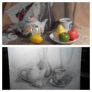 Малювання олівцем в студії. Натюрморт з декількох предметів