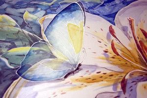 фрагмент картины в технике батик роспись по шелку