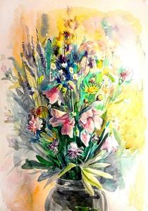 Польові квіти, акварельний етюд