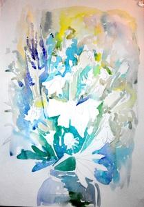 Акварельний еюд з польовими квітами