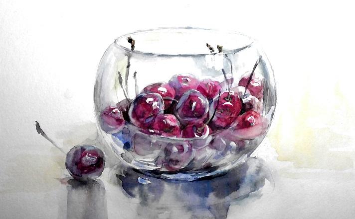 Натюрморт вишні у скляній вазі, акварель