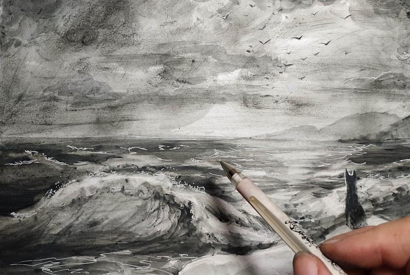Білою гелевою ручкою домальовуємо бризки та відблиски на воді