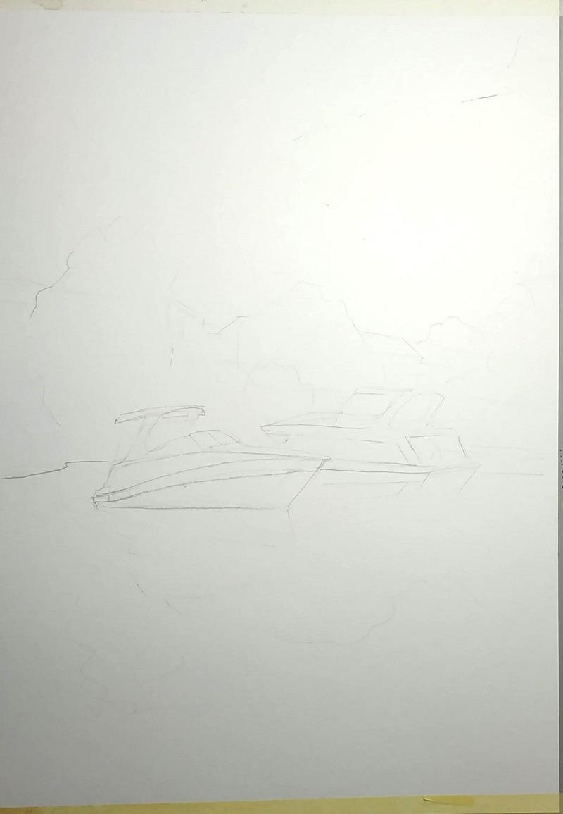 Робимо начерк олівцем. Ми залишаємо тільки важливі деталі: два човни і трохи дерев
