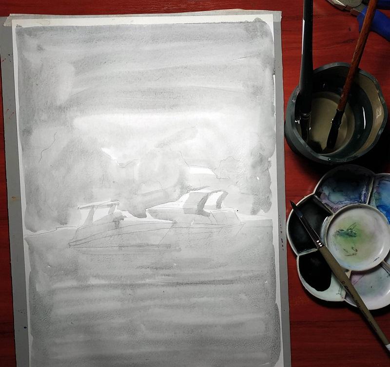 Перший шар соусу розчиненого у воді робимо по всьому листу, залишаємо білі місця