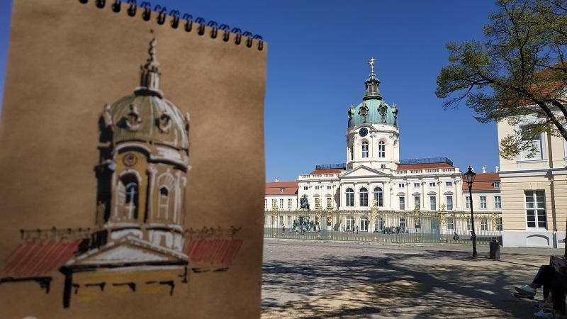 Берлін, Палац Шарлоттенбург. Швидкий ескіз. Папір для рукоділля, маркери