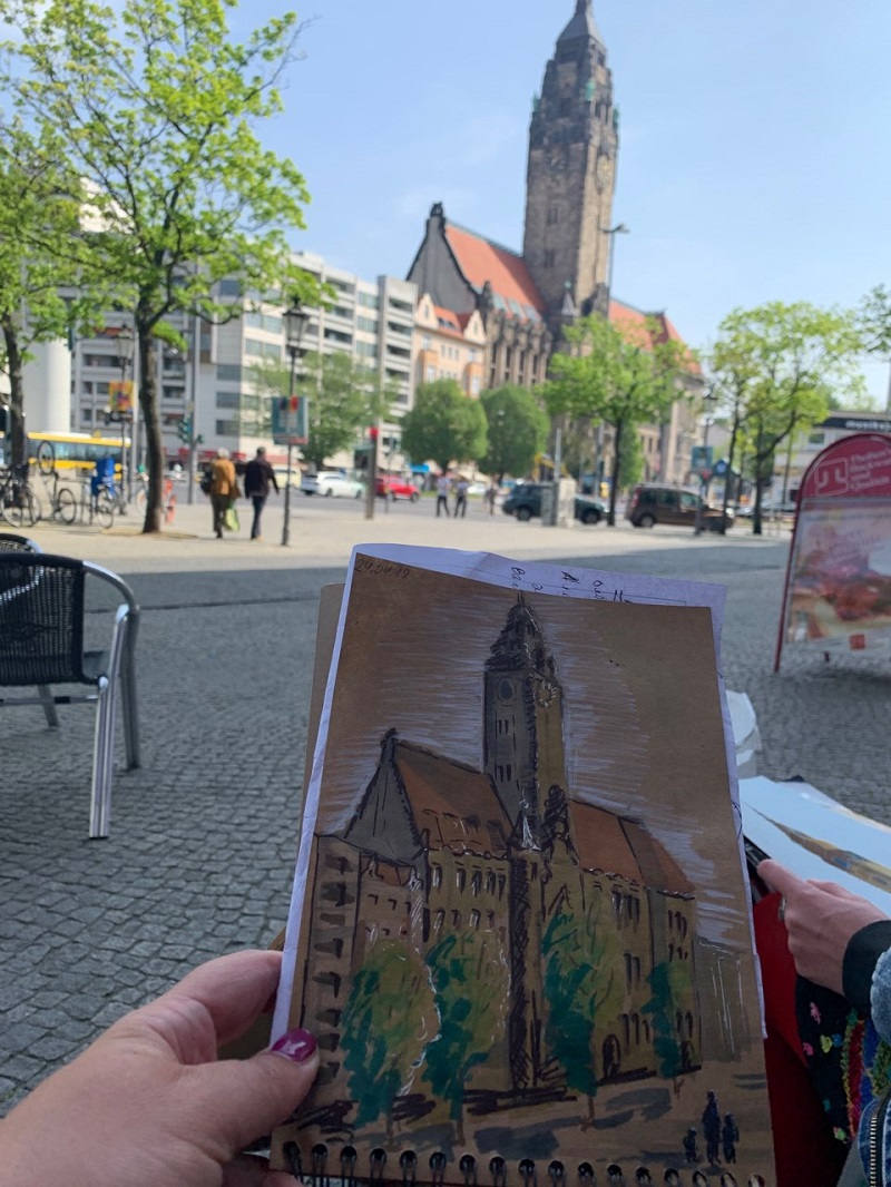 Міський пейзаж в Берліні. Ратуша. Папір для рукоділля, маркери