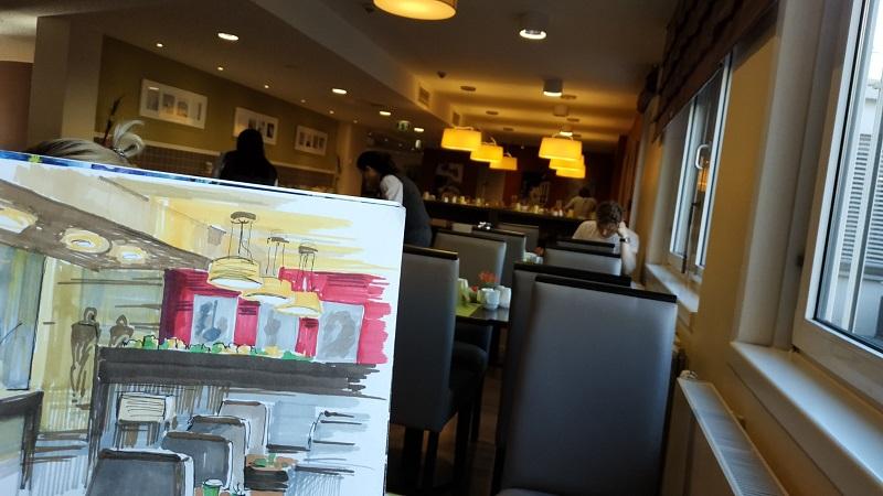 Урбан скетч. Быстрый набросок интерьера кафе в ожидании завтрака :)