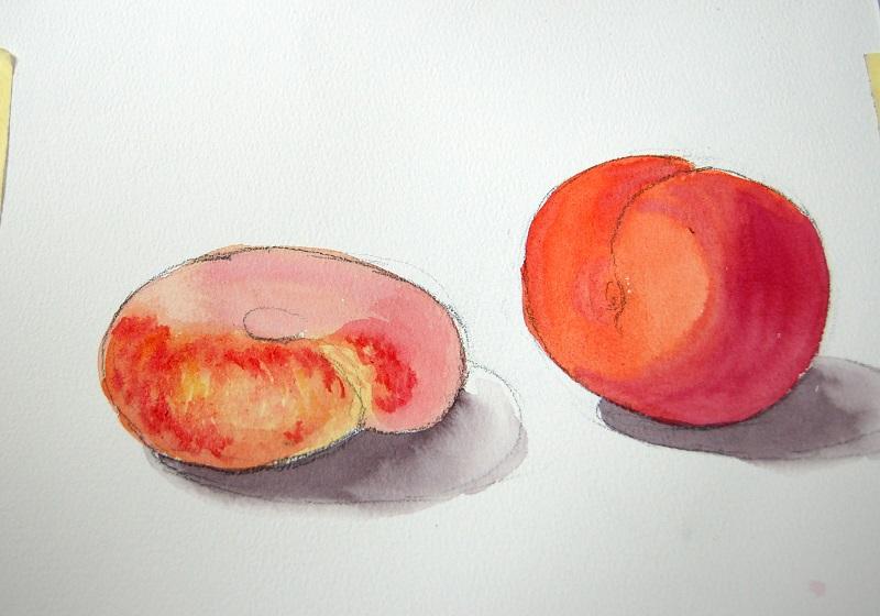 Рисуем персики акварелью по мокрому