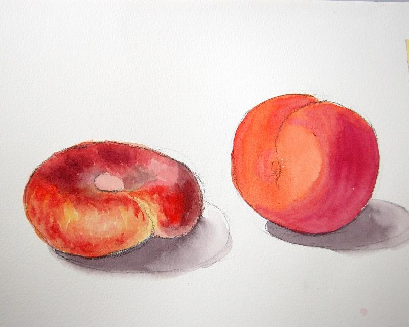 Рисуем персики акварелью по мокрому 2