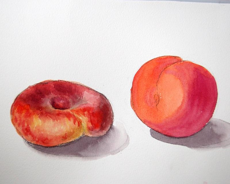 Рисуем персики акварелью по мокрому 3