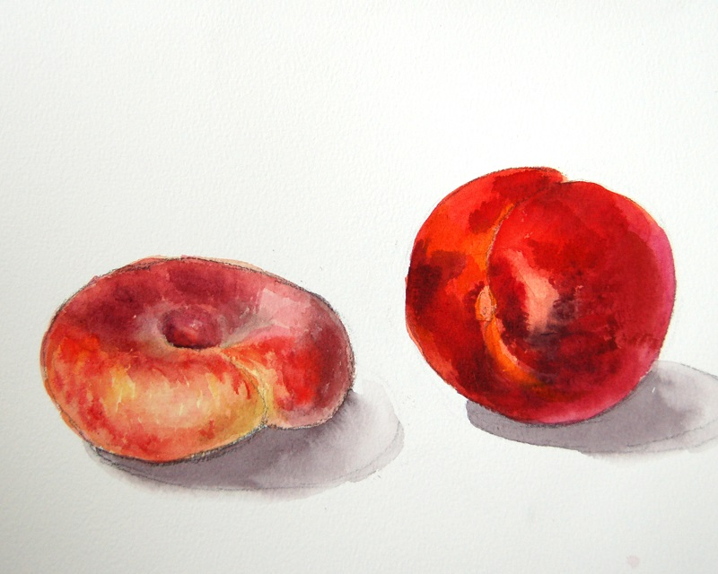 Промальовуємо відблиски на персикахварелью
