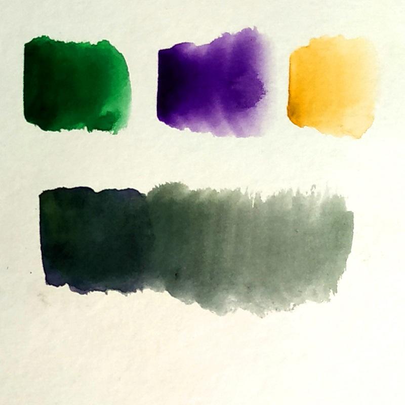 Змішування відтінків зеленого фіолетового і жовтого кольоріво